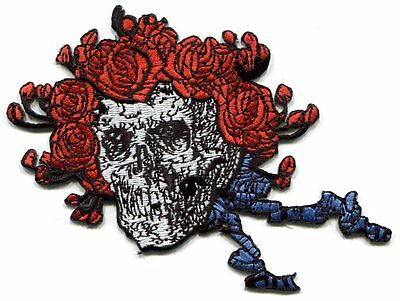 GRATEFUL DEAD skull/roses cut-out EMBROIDERED IRON-ON PATCH -p1229 **FREE SHIP**