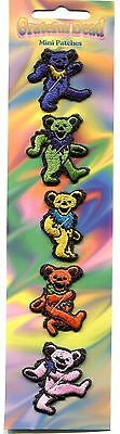 GRATEFUL DEAD Colorful Bears 5 MINI PATCH SET Embroidered Iron On jerry garcia