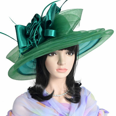 Noble ladies Kentucky derby wedding church wide brim sheer floral feather hat