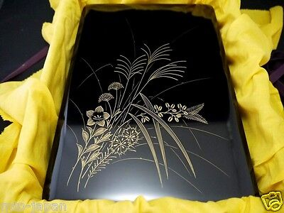 Japanese Wajima Lacquer Wooden Box W/ Autumn Flower Chinkin Design (805-14)