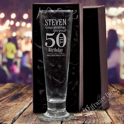 Personalised Engraved Tall Pilsner Glass GIFT Birthday 18th, 21st, 30th Present