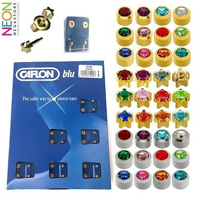 Caflon 24ct Gold Plated Stainless Steel Birth Stone Ear Piercing Studs - 12 Pack