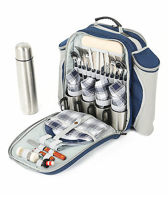 Super Deluxe Blue Picnic Backpack for Four People, Picnic Rucksack, Picnic