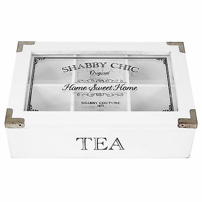 White Wooden Rustic 6 Compartment Tea Bag Box Caddy Storage Chest Shabby Chic