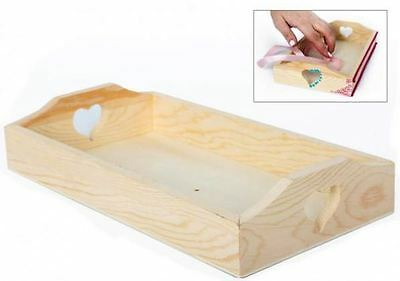 Craft Wooden Tray Heart Art Decoupage Gift Decor Create Painting Plain Desk Fun