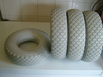 Set Of Four Puncture Proof 4.10/3.50-6 Mobility Scooter Tyres. Brand New Grey.