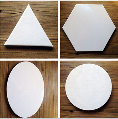 Custom Size Round/Oval/Triangle/Hexagon Shaped Stretched Blank Canvas, MOQ 2 pcs