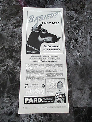 "Vintage 1941 Pard Dog Food Doberman Pinscher Print Ad, 13.625"" X 5.5"""