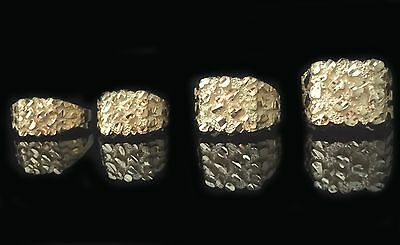 10K Nugget Solid Yellow Gold Mens Ring Small Medium Large Extra Large All sizes