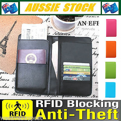 RFID Blocking Business Passport Long Travel Wallet Anti Scan Synthetic Leather