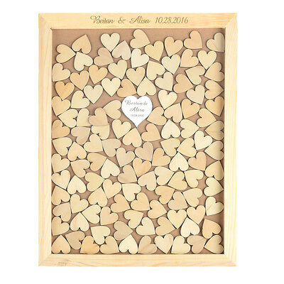 Personalized Rustic Drop Top Wooden Wedding Guest Book Frame 130 Pcs Wood Hearts
