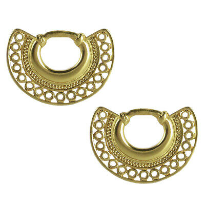 ACROSS THE PUDDLE 24k Gold Plated Pre-Columbian Nose Ring Drop Earrings