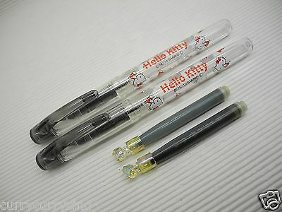 2x Platinum Hello Kitty Preppy Stainless 0.3mm Fountain Pen with cap Blue Black