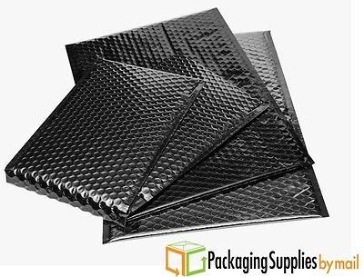 Glamour Metallic Bubble Mailers Padded Envelopes Bags 7 x 6.75 Black 500 Pcs
