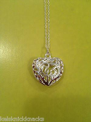 Stunning 925 Silver Hollow Heart Pendant and Necklace
