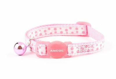 Ancol Dotty Cat Collar Pink with Safety Buckle & Bell