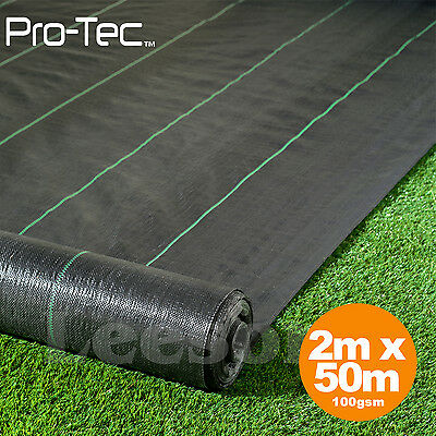 2m x 50m 100g weed control fabric ground cover membrane driveway landscape mulch