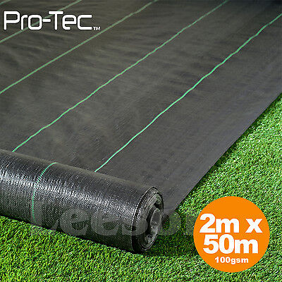 2m x 50m wide 100gsm weed control fabric garden landscape ground cover membrane