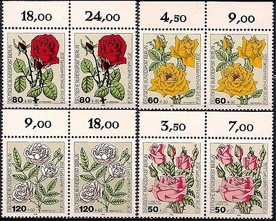 Germany B 1982 Roses Flowers Plants Nature Welfare Fund pairs MNH