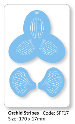 JEM Set of 3 ORCHID STRIPES Flower Cake Decorating Stencil Sugarcraft Decoration