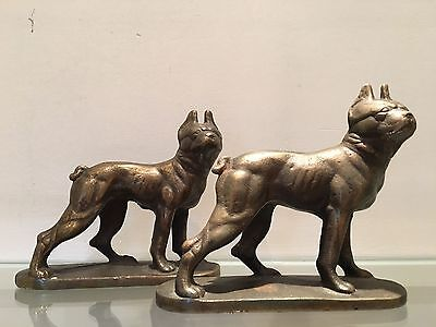 Antique Boston Terrier Bookends. Very Rare. By Hubley