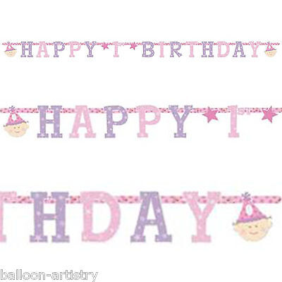 Girl's Pink Happy 1st Birthday Party Prismatic Jointed Letter Banner Decoration