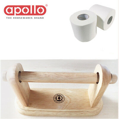 Quality Toilet Roll Tissue Holder Apollo Wall-Mounted Hevea Wooden Paper Towel H