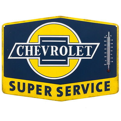 Chevrolet Service Embossed Tin Thermometer Sign Vintage Style Decor 14 x 10