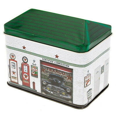 Texaco Service Station Tin Storage Container Vintage Style Canister Embossed