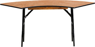 Lot Of 10 - 5.5 Ft. X 2 Ft. Serpentine Wood Folding Banquet Table