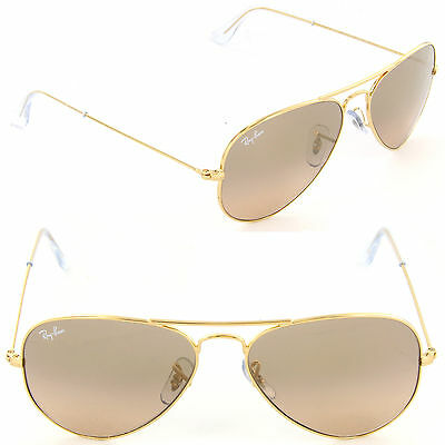 ray ban aviator 3025 62mm  NEW Ray-Ban RB 3025 001/3E 58mm Aviator Gold / Brown Pink Silver ...
