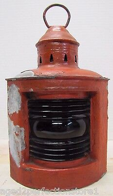Old Wilcox Crittenden Nautical Lantern ships boat lamp red ribbed glass