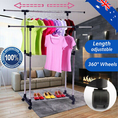 Double Clothes Rail Hanging Garment Dress On Wheels With Shoe Rack Adjustable