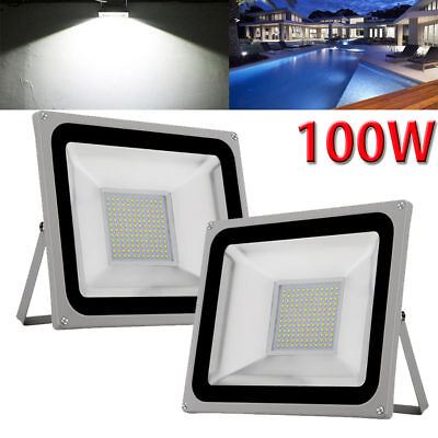 2X 100W Cool White LED Flood Light Outdoor Garden Wall Path Lamp Waterproof 240V