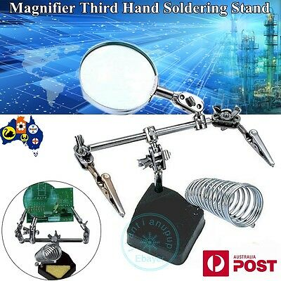 Third Hand Soldering Solder Iron Stand Holder Station Magnifier Helping Tool AU