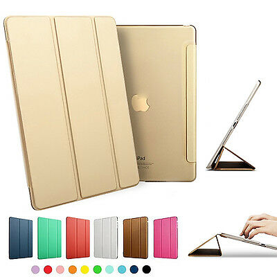 Slim Smart PU Leather Cover Hard Back Case For Apple iPad Mini Pro Air 2 3 4