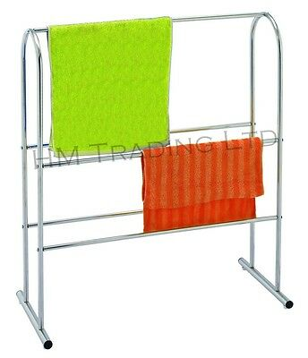 New Chrome Plated Free Standing Rail Hanging Rack Towel Clothes Bathroom Storage