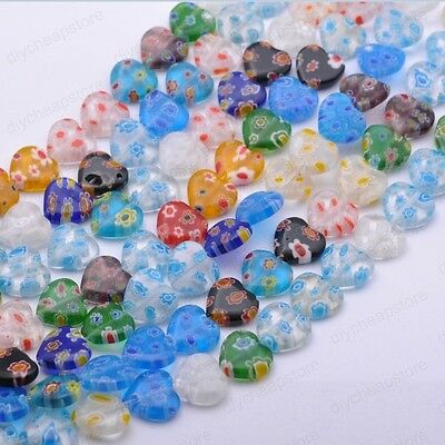 Lots Multi-Color Heart Millefiori Glass Craft Charms Spacer Beads 8MM 10MM 12MM