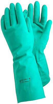 TEGERA 48 Extra Long 17 inch Green Nitrile Rubber Gloves Gauntlet Chemicals