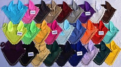 Zainee Horse Fly Veil Ear Bonnet Net Breathable Cotton Hat Equestrian 26 Colours