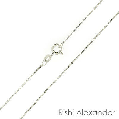 925 Sterling Silver Rhodium Finish Diamond Cut Box Chain Necklace .925 Italy