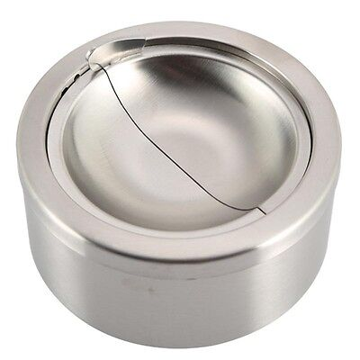 1pc Stainless Steel Cigarette Lidded Ashtray Silver Windproof Ashtray with Cover