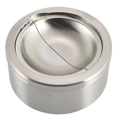 1pc Stainless Steel Silver Cigarette Lidded Ashtray Windproof Ashtray with Cover