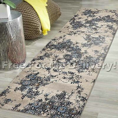 LEGACY VINTAGE STYLE BEIGE BLUE CLASSIC RUG RUNNER 80x500cm **FREE DELIVERY**
