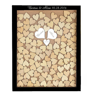 Personalized Mirror Wooden Drop Top Wedding Guest Book Box Frame 130 Heart Gift