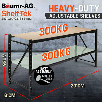 2m 600kg Metal Warehouse Racking Storage Garage Shelving Steel Shelves 2 Tier