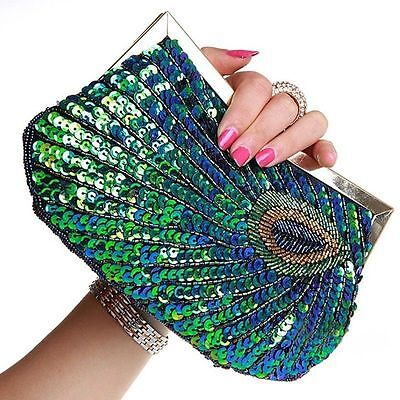 Crystal Sequined Peacock Wedding Evening Shoulder bag Clutch Wallet Handbag