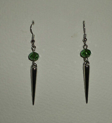 Stunning Long Spiked Green Faceted Glass Earrings Silver Plated