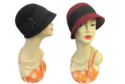 New VTG 1920's 30's 40's style Felt Cloche Flapper Downton Hat in Red / Black
