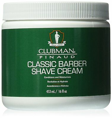 Clubman pinaud Classic Barber Shave Cream Conditions and Moisturizers 16oz Jar